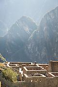 View across Machu Picchu, Cusco Region, Urubamba Province, Machupicchu District in Peru, South America