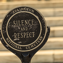 Washington, DC, USA - April 11, 2013: Arlington National Cemetery Silence and Respect Sign