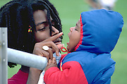 Father playing with his son with fingers age 22 and 1.  St Paul Minnesota USA