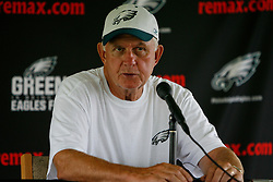 Bethlehem, Pennsylvania - Coach Jim Johnson speaks at a Press Conference after morning practice at the Eagles Training camp at Lehigh University. (Photo by Brian Garfinkel)