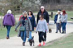 © Licensed to London News Pictures 25/03/2021. <br /> Royal Tunbridge Wells, UK. People out and about walking their dogs in Dunorlan Park in Royal Tunbridge Wells, Kent enjoying the bright sunny weather. Photo credit:Grant Falvey/LNP
