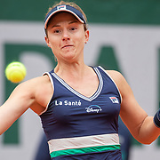 PARIS, FRANCE October 06. Nadia Podoroska of Argentina in action against Elina Svitolina of the Ukraine in action in the Quarter Finals of the singles competition on Court Philippe-Chatrier during the French Open Tennis Tournament at Roland Garros on October 6th 2020 in Paris, France. (Photo by Tim Clayton/Corbis via Getty Images)