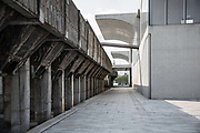 A view of the Long Museum, a part of which is a preserved coal unloading bridge from an old industrial site, located in the up and coming West Bund district of Shanghai,  China on 09 September 2015.