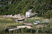 Rowboat and beach shack, Cape Cod, MA, Massachusetts, USA