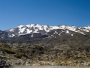 Mount Ruapehu, covered with snow,, a volcano within Tongariro National Park, North Island, New Zealand.