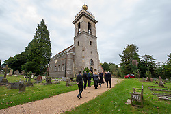 © Licensed to London News Pictures. 03/10/2019. High Wycombe, UK. Mourners arrive at St Lawrence's Church in High Wycombe for the funeral of Libby Squire. Libby Squire was a 21-year-old Hull University student and originally from High Wycombe she disappeared after a night out in Hull on February 1st, 2019. After extensive searches her body was found close to Spurn Point on March 20th, 2019. Photo credit: Peter Manning/LNP