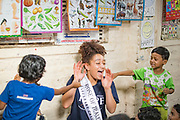 Rose of Tralee Kirsten Mate Maher visiting a slum on a railway line in Chetla Lock Gate in Kolkata in India. Picture:Arthur Carron