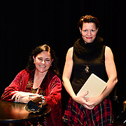 Diana Gabaldon and Virginia Prescott during backstage book signing after speaking at a Writers on a New England Stage show at The Music Hall in Portsmouth, NH