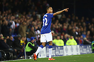 Brendan Galloway of Everton makes his point. Barclays Premier league match, Everton v Crystal Palace at Goodison Park in Liverpool, Merseyside on Monday 7th December 2015.<br /> pic by Chris Stading, Andrew Orchard sports photography.