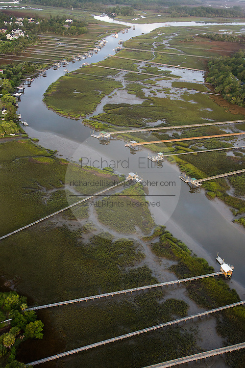 Aerial view of residential docks along Molasses Creek in Mt Pleasant, SC