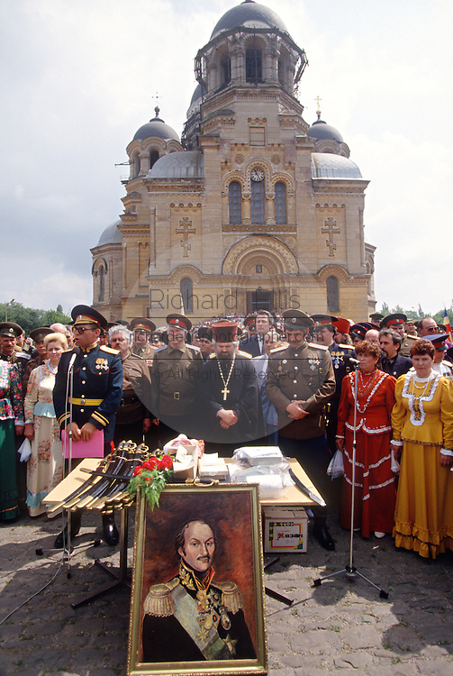 Russian Don Cossacks stand at attention during a blessing at the Ascension Cathedral in Novocherkassk, Russia. The men are participating in the annual Cossack Festival gathering of units from around Russia.