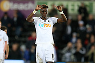 Tammy Abraham of Swansea city thanks the fans after the match. Premier league match, Swansea city v Crystal Palace at the Liberty Stadium in Swansea, South Wales on Saturday 23rd December 2017.<br /> pic by  Andrew Orchard, Andrew Orchard sports photography.