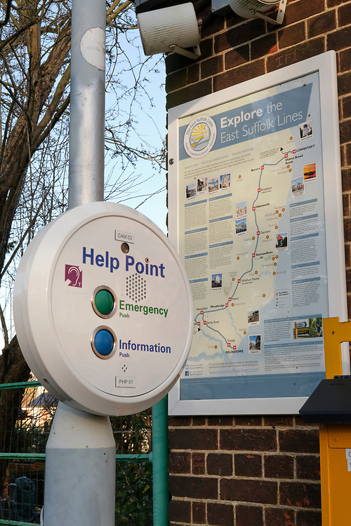 The help point on platform 1, with a poster about the East Suffolk Lines which tourism information about other destination on this part of the rail network.<br /> <br /> Photo by Jonathan J Fussell, COPYRIGHT 2020