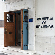 The main entrance of the Art Museum of the Americas, housed in a 1912 Spanish colonial building that is part of the Organization of American States complex in Washington DC's Foggy Bottom district.