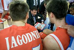 Goran Jagodnik and Coach of Hemofarm STADA Zeljko Lukajic at first semifinal match of League NLB Final Four tournament  between KK Partizan Beograd and Hemofarm STADA Vrsac, on April 23, 2010, in Arena Zagreb, Zagreb, Croatia.  (Photo by Vid Ponikvar / Sportida)