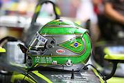 Nelson Piquet Jr helmet during the FIA Formula E Visa London ePrix  at Battersea Park, London, United Kingdom on 28 June 2015. Photo by Matthew Redman.