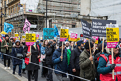 London, UK. 16th March, 2019. Thousands of people march through central London on the March Against Racism demonstration on UN Anti-Racism Day against a background of increasing far-right activism around the world and a terror attack yesterday on two mosques in New Zealand by a far-right extremist which left 49 people dead and another 48 injured.
