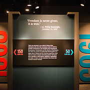 at an exhibit titled Changing America: The Emancipation Proclamation, 1863, and the March on Washington, 1963, at the Smithsonian Institution's National Museum of American History on the National Mall in Washington DC.