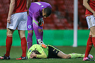 Brighton U18 Archie Davies  gets a kick to the head during the FA Youth Cup match between U18 Nottingham Forest and U18 Brighton at the City Ground, Nottingham, England on 10 December 2015. Photo by Simon Davies.