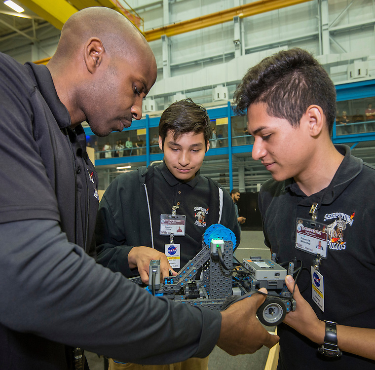 Students from Chavez, Houston, Madison, Sharpstown and Westbury participate in the High School Challenge robotics competition at Johnson Space Center, April 29, 2016.