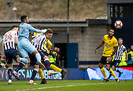 Byron Webster of Millwall clears during the FA Cup match at The Den, London<br /> Picture by Liam McAvoy/Focus Images Ltd 07413 543156<br /> 29/01/2017