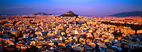 Overview of Athens, Mount Lycabettus in background,  Athens, Greece