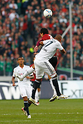 23.10.2011, AWD-Arena, Hannover, GER, 1.FBL, Hannover 96 vs FC Bayern Muenchen, im Bild Kopfballduell zwischen  Mohamed Abdellaoue (Hannover #25) und  Jerome Boateng (Muenchen #17) .// during the match from GER, 1.FBL, Hannover 96 vs FC Bayern Muenchen on 2011/10/23, AWD-Arena, Hannover, Germany. .EXPA Pictures © 2011, PhotoCredit: EXPA/ nph/  Schrader       ****** out of GER / CRO  / BEL ******