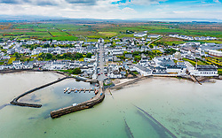 Aerial view of whitewashed houses in Bowmore, Islay , Scotland, UK