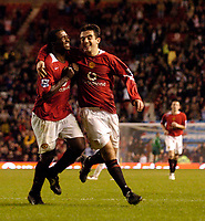 Photo: Jed Wee.<br /> Manchester Utd v Barnet. Carling Cup. 26/10/2005.<br /> <br /> Manchester United's goalscorer Sylvan Ebanks-Blake (L) celebrates with Giuseppe Rossi.