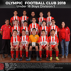 Olympic FC Under 18 Division 1 Boys 2018