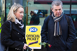 London, UK. 14th February, 2019. Rebecca Long-Bailey (l), Shadow Secretary of State for Business, Energy and Industrial Strategy, and Mark Serwotka, General Secretary of the Public & Commercial Services (PCS) union show solidarity on a Valentine's Day-themed picket line outside the Department of Business, Energy and Industrial Strategy (BEIS) with outsourced support staff from PCS taking strike action to demand the London Living Wage and an end to outsourcing.