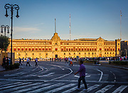 """The Zócalo is the common name of the main square in central Mexico City. Prior to the colonial period, it was the main ceremonial center in the Aztec city of Tenochtitlan. The plaza used to be known simply as the """"Main Square"""" or """"Arms Square,"""" and today its formal name is Plaza de la Constitución (Constitution Square). This name does not come from any of the Mexican constitutions that have governed the country but rather from the Cádiz Constitution which was signed in Spain in the year 1812. However, it is almost always called the Zócalo today. Plans were made to erect a column as a monument to Independence, but only the base, or zócalo (meaning """"plinth"""") was built. The plinth was destroyed long ago but the name has lived on. Many other Mexican towns and cities, such as Oaxaca and Guadalajara, have adopted the word zócalo to refer to their main plazas, but not all."""
