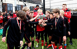 The winning team lift the BCCT EFL Kids Cup trophy - Mandatory by-line: Robbie Stephenson/JMP - 23/11/2016 - FOOTBALL - South Bristol Sports Centre - Bristol, England - BCCT EFL Kids Cup