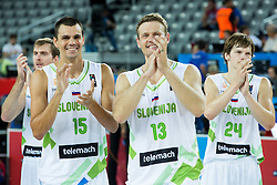 Zoran Dragic of Slovenia, Jure Balazic of Slovenia, Miha Zupan of Slovenia, Jaka Klobucar of Slovenia celebrate after winning during basketball match between Slovenia vs Netherlands at Day 4 in Group C of FIBA Europe Eurobasket 2015, on September 8, 2015, in Arena Zagreb, Croatia. Photo by Vid Ponikvar / Sportida
