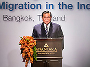 """29 MAY 2015 - BANGKOK, THAILAND: H.E. General TANASAK PATIMAPRAGORN, Deputy Prime Minister and Minister of Foreign Affairs of Thailand, makes the opening comments at the """"Special Meeting on Irregular Migration in the Indian Ocean."""" Thailand organized and hosted the meeting at the Anantara Siam Hotel in Bangkok. The meeting brought together representatives from the 5 countries impacted by the boat people exodus: Thailand, Malaysia and Indonesia, which have all received boat people, and Myanmar (Burma) and Bangladesh, where they are coming from. Non-governmental organizations, like the International Organization for Migration (IOM) and UN High Commissioner for Refugees (UNHCR) as well as countries responding to the crisis, like the United States, also attended the meeting. A total of 22 organizations attended the one day conference.      PHOTO BY JACK KURTZ"""