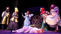 King Bumble -Ken Chapman, Queen Bee -Lynn Dadian, Fairy Nuff -Barbara Webb, Aurora -Rebecca Tucker, Chester Drawers -Jeff Williams and Nanny Fanny -William Vaughn during dress rehearsal for Sleeping Beauty at the Winnipesaukee Playhouse on Tuesday afternoon.  (Karen Bobotas/for the Laconia Daily Sun)