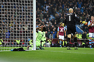 Raheem Sterling of Manchester city reacts after he is denied by a fine save by Aston Villa goalkeeper Brad Guzan  late in game  Barclays Premier league match, Aston Villa v Manchester city at Villa Park in Birmingham, Midlands  on Sunday 8th November 2015.<br /> pic by  Andrew Orchard, Andrew Orchard sports photography.