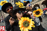 Fringe street performers on the Royal Mile during the Edinburgh Fringe Festival. Shot for the Press Association