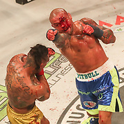 HOLLYWOOD, FL - JUNE 27: Thiago Alves throws a punch at Ulysses Diaz during the Bare Knuckle Fighting Championships at the Seminole Hard Rock & Casino on June 27, 2021 in Hollywood, Florida. (Photo by Alex Menendez/Getty Images) *** Local Caption *** Thiago Alves; Ulysses Diaz