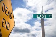 Street signs announce Dead End on Easy Street, Brinnon, Washington, USA