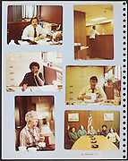 page from a photo album with company office workers USA 1980