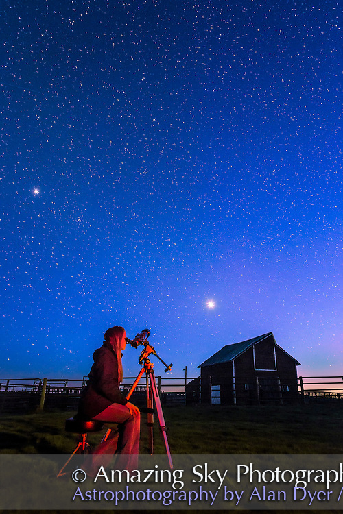 Observing Venus in the evening twilight, at the Old Man on His Back Prairie and Heritage Conservation Area in southwest Saskatchewan, May 2015. Jupiter shines above at left. This is a single 30 second exposure at f/4.5 with the 24mm lens and Canon 6D at ISO 2500. Red light provided by light painting with a red LED light.