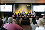 Keith Wood facilitates a panel discussion with Dr Kathryn Ackerman, Dr Richard Burden, Dr Andrew Barr & Dr Charles Pedlar at the Orreco Science Summit, Glenlo Abbey Hotel, Galway, 25.10.16