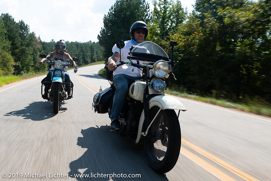 Tom Banks riding his 1936 Harley-Davidson VLH Flathead during the Cross Country Chase motorcycle endurance run from Sault Sainte Marie, MI to Key West, FL. (for vintage bikes from 1930-1948). Stage-6 from Chattanooga, TN to Macon, GA USA covered 258 miles. Wednesday, September 11, 2019. Photography ©2019 Michael Lichter.