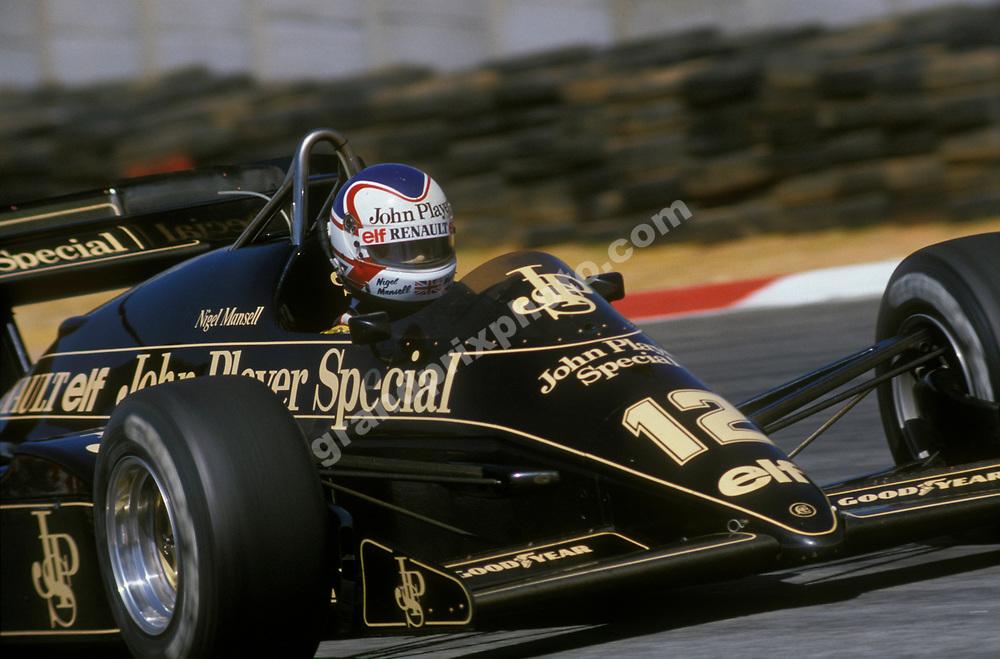 Nigel Mansell (Lotus-Renault) in the 1984 Brazilian Grand Prix at the Jacarepagua circuit outside Rio de Janeiro. Photo: Grand Prix Photo
