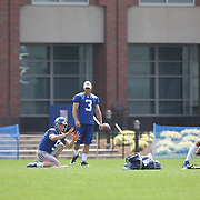Kicking team Steve Weatherford, Zac DeOssie, (right) and Josh Brown, practicing kicking timing during the 2013 New York Giants Training Camp at the Quest Diagnostics Training Centre, East Rutherford, New Jersey, USA. 29th July 2013. Photo Tim Clayton.