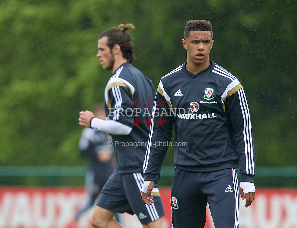 CARDIFF, WALES - Tuesday, June 2, 2015: Wales' Tyler Roberts during a training session at the Vale of Glamorgan ahead of the UEFA Euro 2016 Qualifying Round Group B match against Belgium. (Pic by David Rawcliffe/Propaganda)