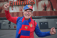 a FC Basel fan looks on outside the Emirates Stadium before k/o. UEFA Champions league group A match, Arsenal v FC Basel at the Emirates Stadium in London on Wednesday 28th September 2016.<br /> pic by John Patrick Fletcher, Andrew Orchard sports photography.