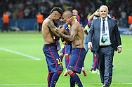 Barcelona Neymar  and Barcelona Daniel Alves celebrate during the Champions League Final between Juventus FC and FC Barcelona at the Olympiastadion, Berlin, Germany on 6 June 2015. Photo by Phil Duncan.