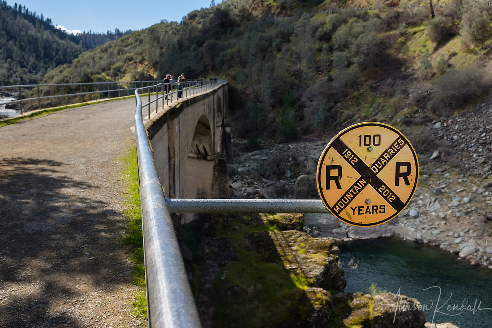 """View along """"No Hands Bridge"""" over the North Fork of the American River in Placer County, California"""